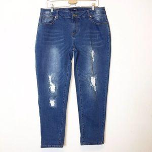 Baccini Blue Distressed Slim Leg Jeans